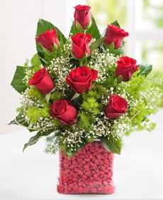Cam içerisinde 9 adet kırmızı gül  Erzurum çiçek mağazası , çiçekçi adresleri