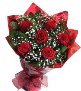 6 adet kırmızı gülden buket  Erzurum çiçek siparişi sitesi
