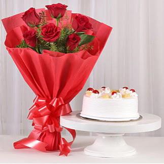 6 Kırmızı gül ve 4 kişilik yaş pasta  Erzurum 14 şubat sevgililer günü çiçek