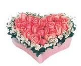 kalp içerisinde 9 adet pembe gül  Erzurum uluslararası çiçek gönderme