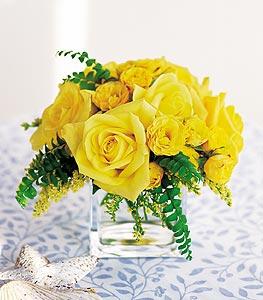 Erzurum İnternetten çiçek siparişi  cam içerisinde 12 adet sari gül