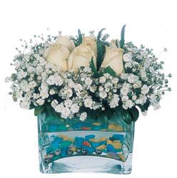 Erzurum çiçek online çiçek siparişi  mika yada cam içerisinde 7 adet beyaz gül