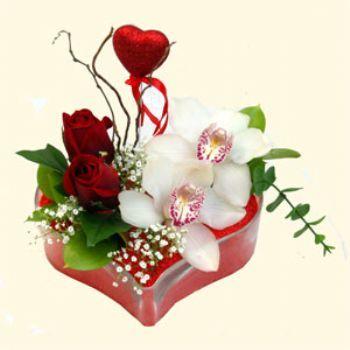 Erzurum çiçekçi telefonları  1 kandil orkide 5 adet kirmizi gül mika kalp