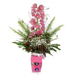 Erzurum hediye sevgilime hediye çiçek  cam yada mika vazo içerisinde tek dal orkide çiçegi