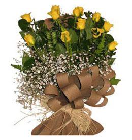 Erzurum online çiçek gönderme sipariş  9 adet sari gül buketi