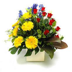 Erzurum online çiçekçi , çiçek siparişi  9 adet gül ve kir çiçekleri cam yada mika vazoda