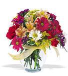 Erzurum 14 şubat sevgililer günü çiçek  cam yada mika vazo içerisinde karisik kir çiçekleri