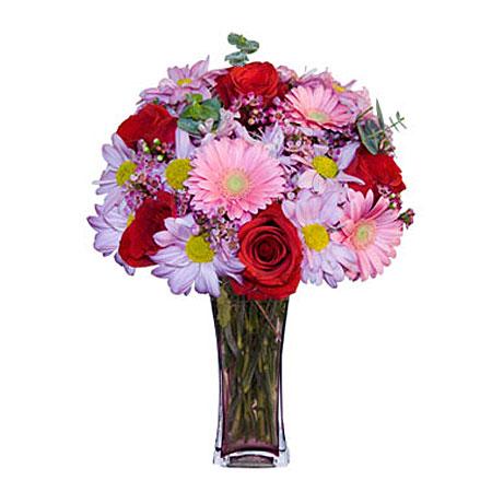 Görsel hediye karisik cam mevsim demeti  Erzurum çiçek online çiçek siparişi