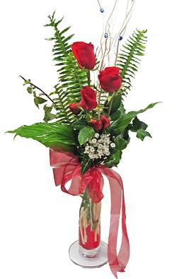 Çiçek gönderin cam vazoda 3 gül çiçekleri  Erzurum çiçek servisi , çiçekçi adresleri