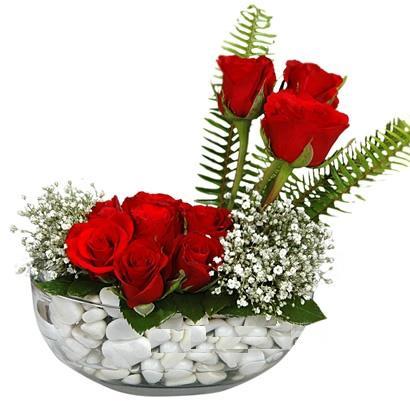 cam içerisinde 9 adet kirmizi gül  Erzurum yurtiçi ve yurtdışı çiçek siparişi