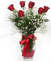 7 adet gülden cam içerisinde güller  Erzurum çiçek yolla