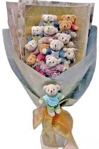 12 adet ayiciktan buket tanzimi  Erzurum çiçek yolla , çiçek gönder , çiçekçi