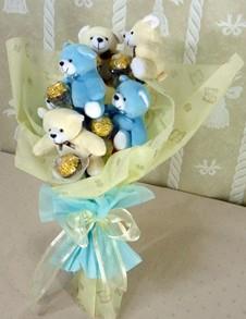 6 adet ayiciktan buket tanzimi  Erzurum İnternetten çiçek siparişi