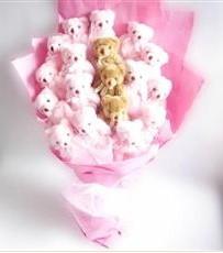 17 adet pelus ayicik buketi  Erzurum internetten çiçek siparişi