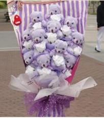 11 adet pelus ayicik buketi  Erzurum çiçek siparişi vermek