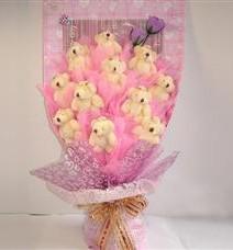 11 adet pelus ayicik buketi  Erzurum online çiçek gönderme sipariş