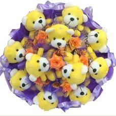 11 adet pelus ayicik buketi  Erzurum ucuz çiçek gönder