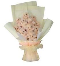 11 adet pelus ayicik buketi  Erzurum anneler günü çiçek yolla
