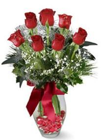 Erzurum güvenli kaliteli hızlı çiçek  7 adet kirmizi gül cam vazo yada mika vazoda