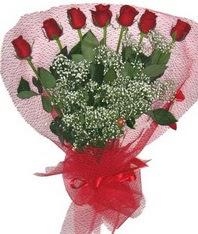 7 adet kipkirmizi gülden görsel buket  Erzurum ucuz çiçek gönder