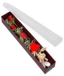 kutu içerisinde 3 adet gül ve oyuncak  Erzurum İnternetten çiçek siparişi