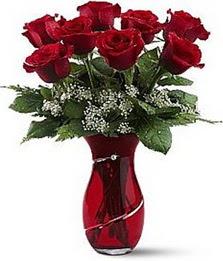 Vazo içinde 8 adet kirmizilar içinde güller  Erzurum güvenli kaliteli hızlı çiçek