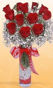 10 adet kirmizi gülden vazo tanzimi  Erzurum çiçek servisi , çiçekçi adresleri