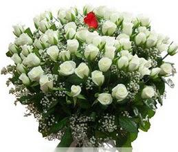 Erzurum çiçek mağazası , çiçekçi adresleri  100 adet beyaz 1 adet kirmizi gül buketi