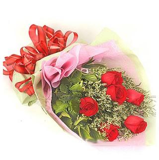 Erzurum 14 şubat sevgililer günü çiçek  6 adet kırmızı gülden buket