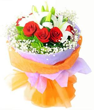 Erzurum çiçek siparişi vermek  1 dal kazablanka 7 adet kırmızı gül buketi
