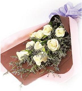 Erzurum çiçek yolla , çiçek gönder , çiçekçi   9 adet beyaz gülden görsel buket çiçeği
