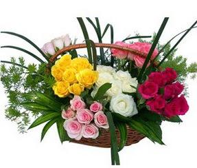Erzurum anneler günü çiçek yolla  35 adet rengarenk güllerden sepet tanzimi