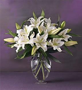 Erzurum internetten çiçek siparişi  4 dal cazablanca vazo çiçeği