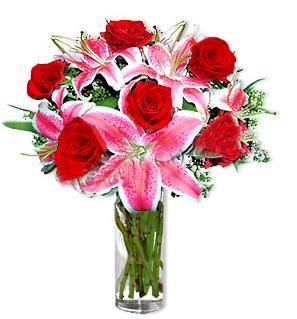 Erzurum online çiçek gönderme sipariş  1 dal cazablanca ve 6 kırmızı gül çiçeği