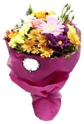 1 demet karışık görsel buket  Erzurum çiçek gönderme
