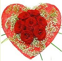 Mika kalp içerisinde 7 adet kırmızı gül  Erzurum çiçek online çiçek siparişi