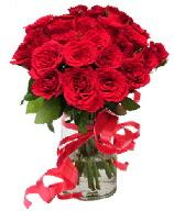 21 adet vazo içerisinde kırmızı gül  Erzurum uluslararası çiçek gönderme