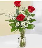 Vazo içerisinde 3 adet kırmızı gül  Erzurum uluslararası çiçek gönderme