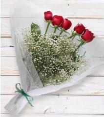 5 kırmızı gülden sade buket  Erzurum online çiçek gönderme sipariş