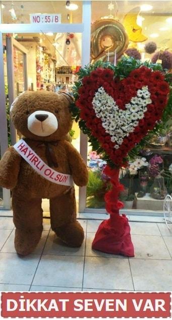 1.5 Metre peluş ayı ve Kalp  Erzurum çiçek siparişi vermek
