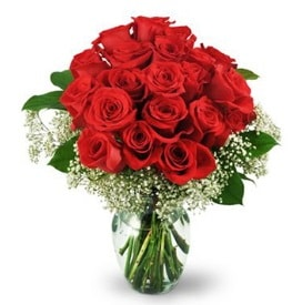 25 adet kırmızı gül cam vazoda  Erzurum 14 şubat sevgililer günü çiçek