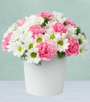 Seramik vazoda papatya ve kır çiçekleri  Erzurum çiçek servisi , çiçekçi adresleri