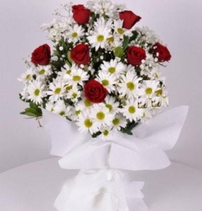 7 adet kırmızı gül ve papatyalar krizantem  Erzurum çiçek mağazası , çiçekçi adresleri