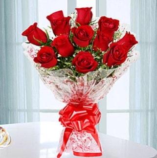 11 adet kırmızı gülden görsel şık buket  Erzurum anneler günü çiçek yolla