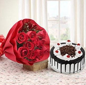 12 adet kırmızı gül 4 kişilik yaş pasta  Erzurum 14 şubat sevgililer günü çiçek