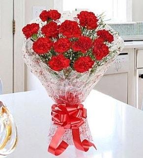 12 adet kırmızı karanfil buketi  Erzurum internetten çiçek siparişi