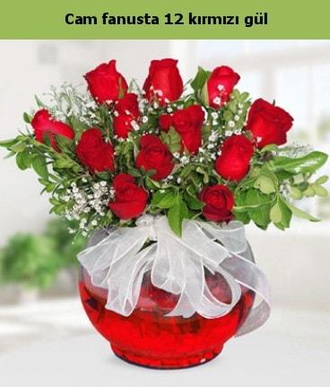 Cam içerisinde 12 adet kırmızı gül  Erzurum çiçek mağazası , çiçekçi adresleri