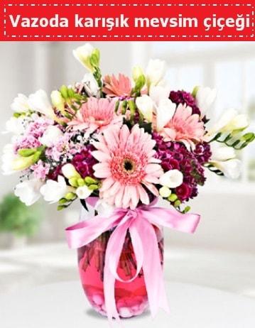 Vazoda karışık mevsim çiçeği  Erzurum 14 şubat sevgililer günü çiçek