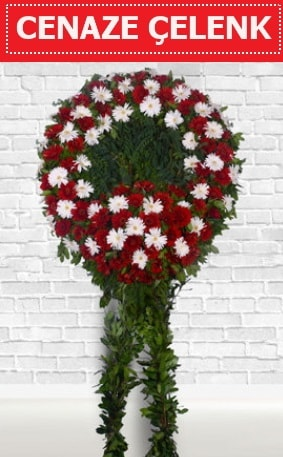 Kırmızı Beyaz Çelenk Cenaze çiçeği  Erzurum internetten çiçek siparişi
