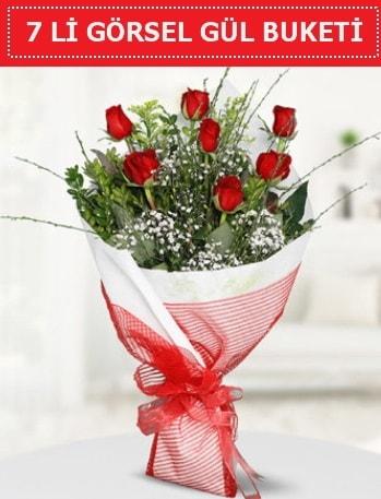 7 adet kırmızı gül buketi Aşk budur  Erzurum uluslararası çiçek gönderme